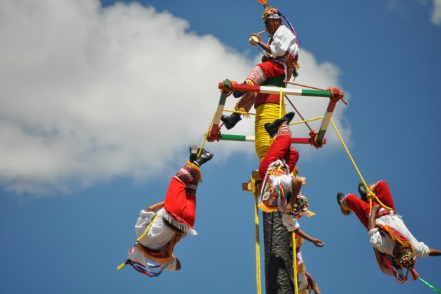 """Los Voladores de Papantla at Viva Mexico in 2011, photo by Steve Collins"""