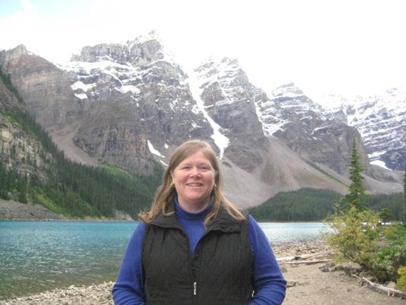 """Nancy D. Brown at Moraine Lake, Alberta, Canada"""