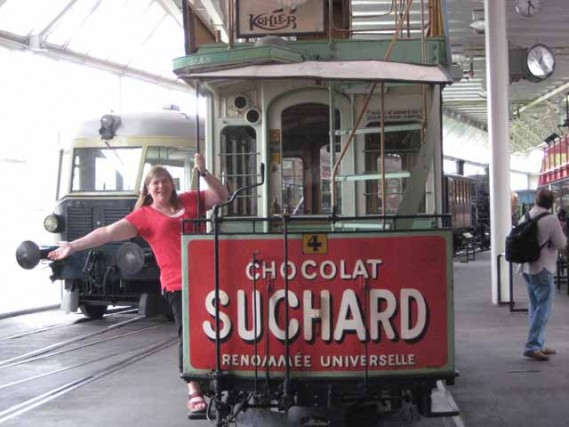 """Nancy D. Brown enjoying Switzerland aboard a Swiss cable car"""