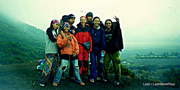 """Lash posing with a group of Javanese student hikers  - central Java - Indonesia"""