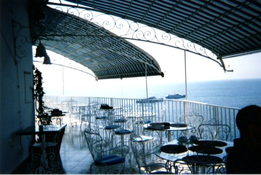"""Amalfi hotel terrace where we had breakfast overlooking the Mediterranean"""