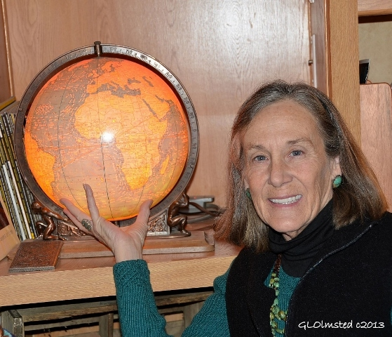 """Traveler Gaelyn Olmsted and globe"""