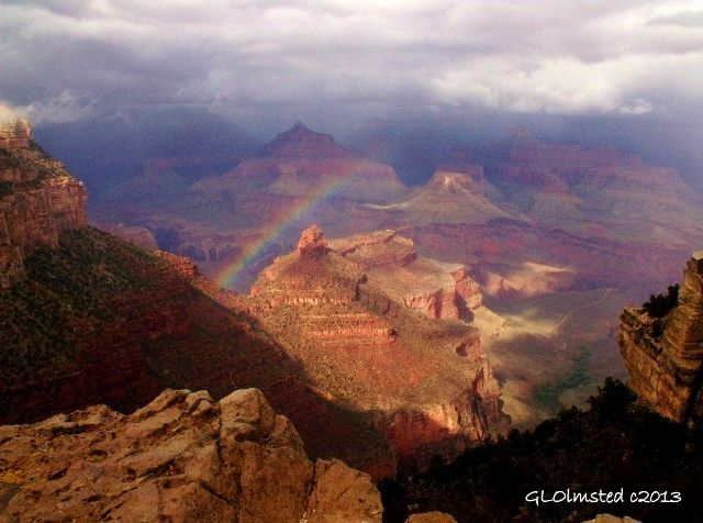 """Rainbow and rain from South Rim, Grand Canyon"""