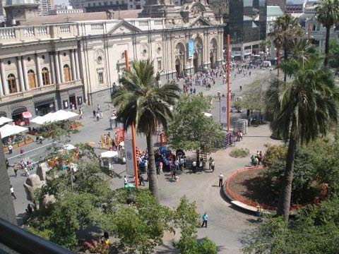 """View from my window. I lived on the 4th floor in Portal Fernanda Concha, a national historic site in Plaza de Armas."""