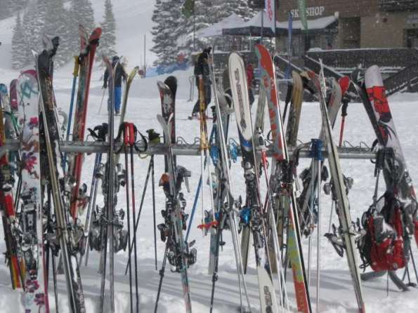 """Skis on the racks at Alta, Utah"""
