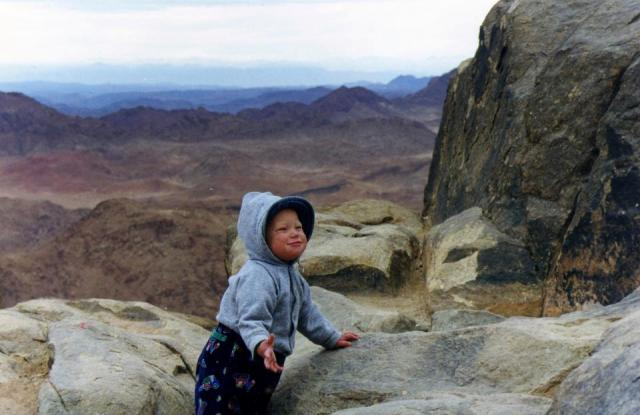 """Nancy Sathre-Vogel's son on Mount Sinai"""