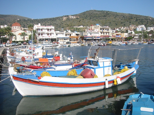 """Colorful little boats bobbing in Elounda, Crete"""