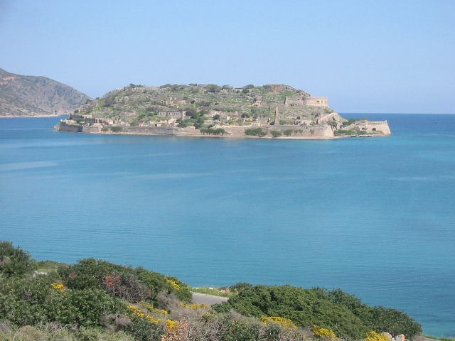 """Island of Spinalonga from Elounda, Crete"""