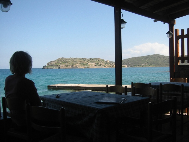 """Looking out at the one-time Venetian Battlement Spinalonga from Elounda Crete"""