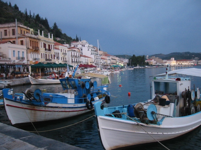 """Boats in harbor in Elounda, Crete"""