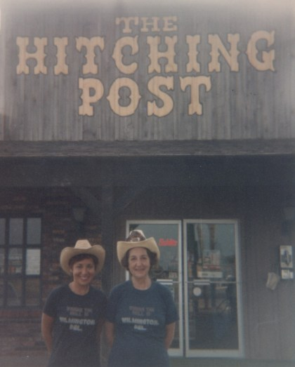 """Travels with mom: Deborah Grossman and her mother outside of The Hitching Post in Texas en route to Mississippi 1982"""
