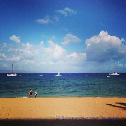 """Boats in the water off of Ka'anapali Beach at the Westin Resort Maui"""