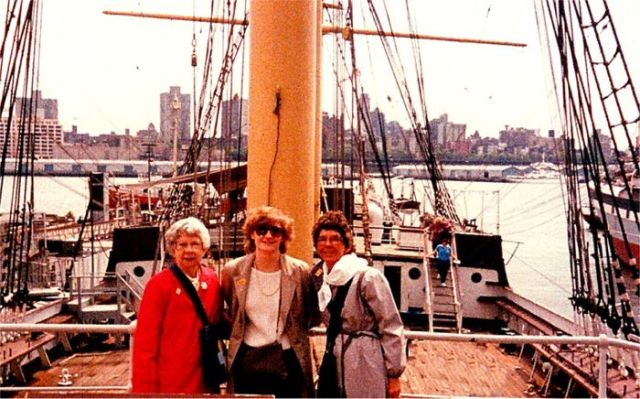 """Marianne Scwab with her mom and grandmother in New York City"""