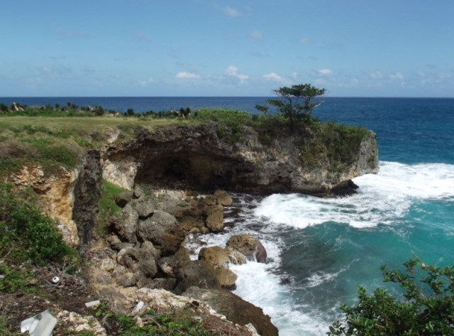 """Cliffs along the coastline in Portland, Jamaica"""