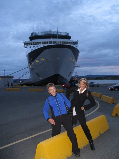 """Robyn Hekking and mom getting ready to board ship for alaskan cruise"""