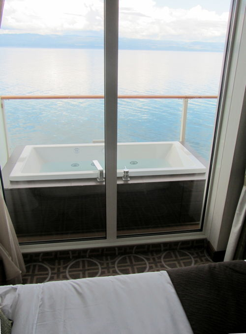 """Deck tub on the balcony of the stateroom on the Celebrity Solstice"""