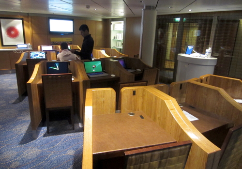 """Grab a cubicle and go online in the i-lounge on the Celebrity Solstice cruise ship"""