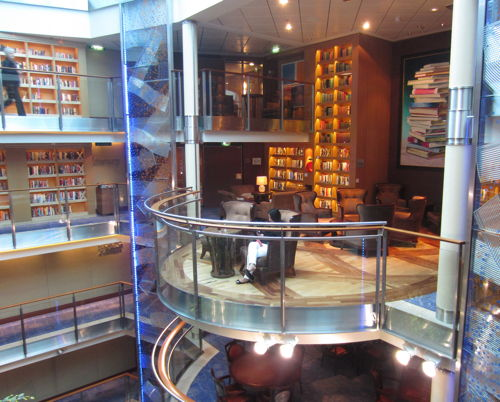 """Luxurious library aboard the Celebrity Solstice cruise ship"""