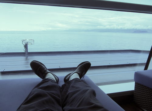 """Relaxing in a spa waiting area on board the Celebrity Solstice"""