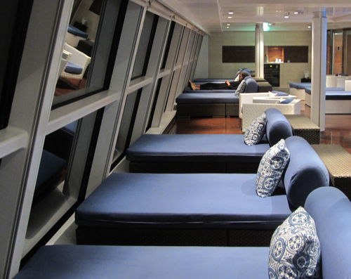 """Sofas with views on Celebrity Solstice's 11th floor deck"""