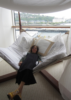 """Relaxing in a tent chair aboard the Celebrity Solstice"""