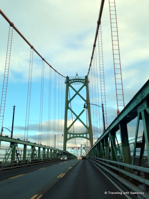 """The Angus L. Macdonald Bridge from Dartmouth to Halifax"""