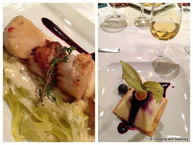 """Lobster Stuffed Digby Scallops and Blueberry Lime Cheesecake"""