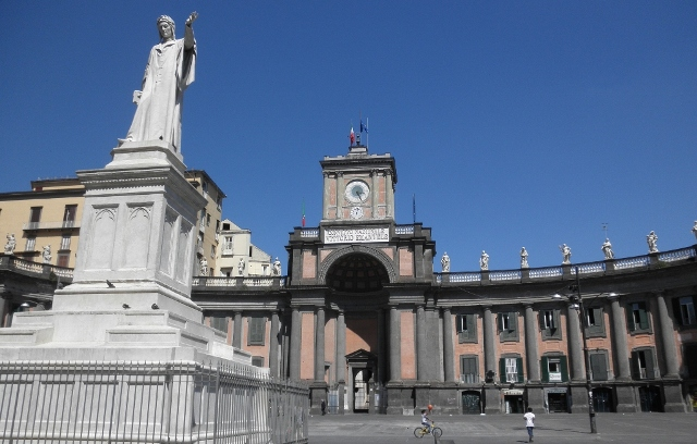 """Convitto Nazionale Vittorio Emanuele and statue of Dante at Piazza Dante"""