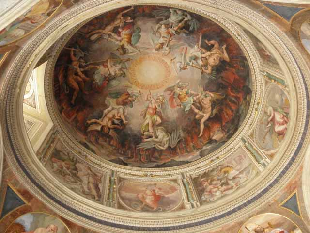 """Ceiling fresco near entrance to the Sistine Chapel"""