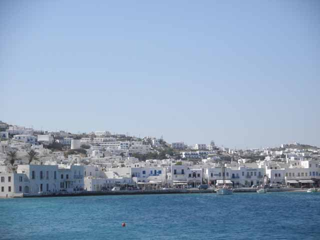 """ A view from the harbor in Mykonos"""