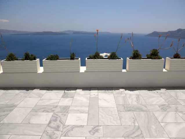 """Marble sidewalks of Oia in Santorini, Greece"""