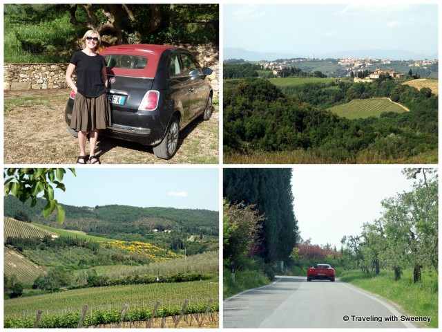 Our rental car, some of the beautiful scenery, and a not uncommon Ferrari