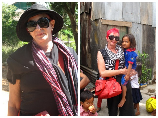 Jody Hanson wearing a Cambodian fashion statement, the krama