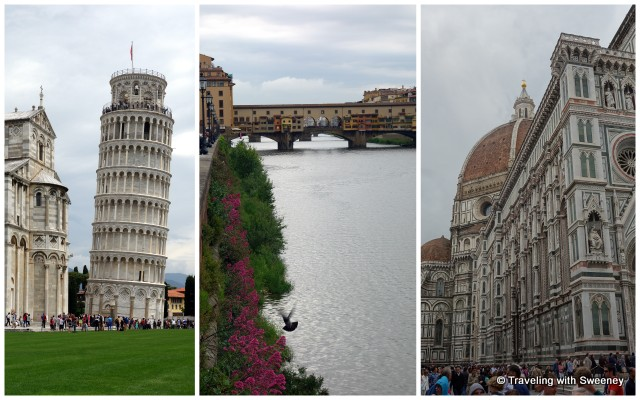 Famous attractions: Pisa -- Leaning Tower of Pisa; Florence -- Ponte Vecchio and Il Duomo di Firenze