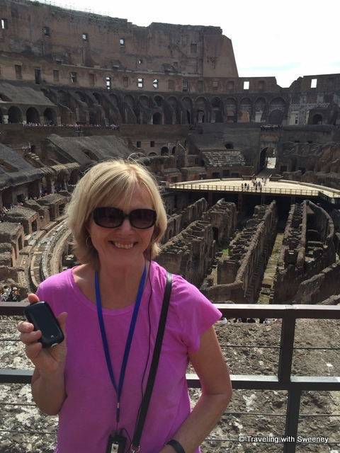 Using wifi in Rome to tweet to my followers from the Colosseum in Rome - staying connected with XCOM Global Mobile Wi-Fi