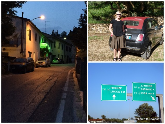 Happy to have Wi-Fi access while driving around Tuscany in our fun Fiat 500. Left: Guided to the small village of Lucardo near our villa via online maps